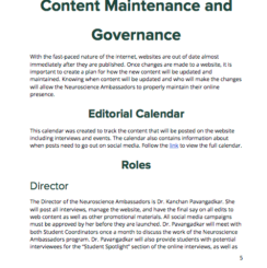 One of the most important aspects of the project was outlining governance within the organization, and making a document that summarized who was in charge of which text.