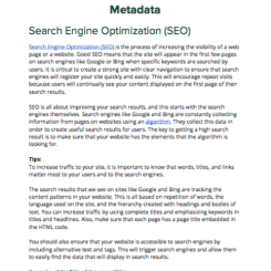 We also addressed search engine optimization for blogs and interviews posted on the website.