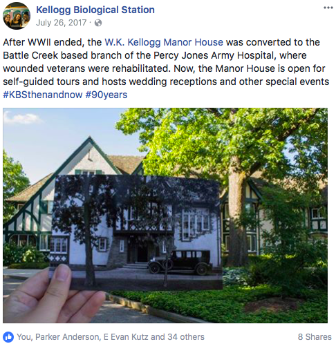 An example of a Facebook post organized for the Kellogg Biological Station.