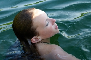 My youngest sister, swimming
