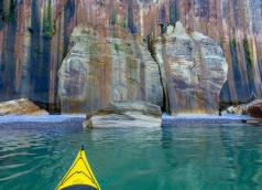 Colored rock and kayak, Pictured Rocks National Lakeshore, MI