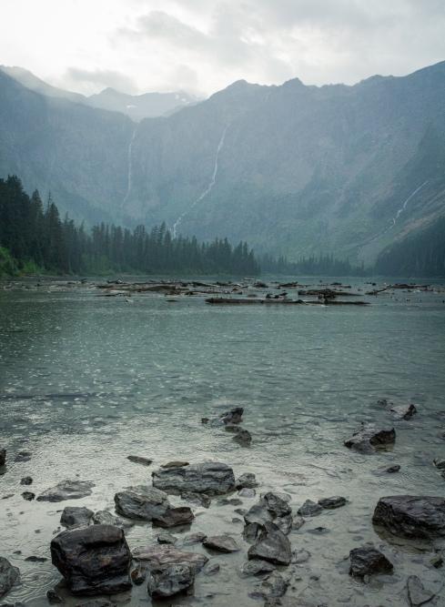 Glacier National Park on a rainy day
